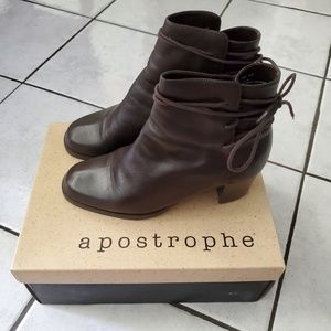 Vtg Apostrophe Ankle Boots 8.5 Brown